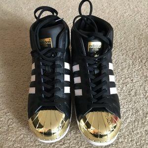 adidas superstar high top gold